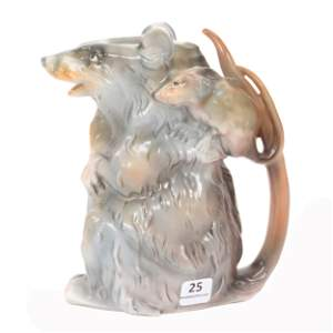 Water Pitcher Marked Royal Bayreuth, Opossum