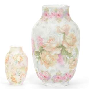 (2) Vases Marked Royal Bayreuth, Rose Tapestry