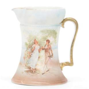 Milk Pitcher Marked Royal Bayreuth, Scenic Tapestry