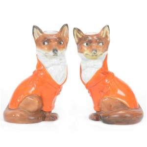 (2) Candleholders, Unmarked Royal Bayreuth, Fox