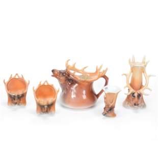 (5) Damaged/Repaired Royal Bayreuth Elk Items