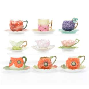 (9) Assorted Bayreuth Style Demitasse Cups/Saucers