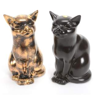 (2) Cat Figures, Unmarked Stangl Pottery