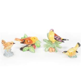 (4) Bird Figurines Marked Stangl Pottery