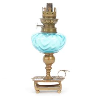 Kerosene Finger Lamp, Blue Art Glass Font