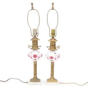 Pair Table Lamp Bases, Bohemian Cranberry Font