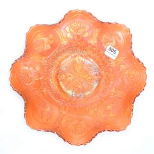 Carnival Glass Bowl, Dragon And Lotus, Marigold