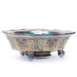 Carnival Glass Bowl, Butterfly & Berry By Fenton