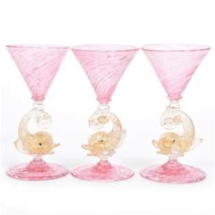 (3) Wine Stems, Murano Art Glass