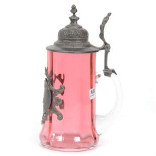 Stein, Bohemian Cranberry Art Glass