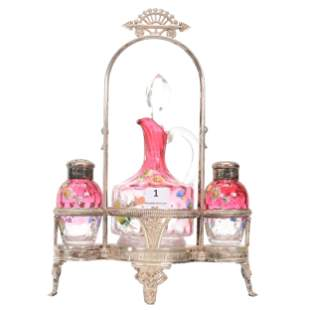 Victorian Condiment Set, Rubina Art Glass