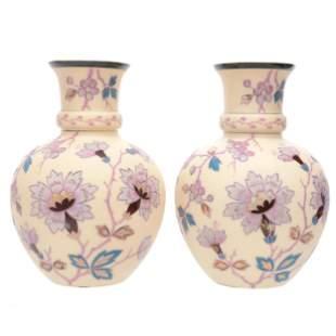 Pair Vases Signed Durand Kimball Art Glass