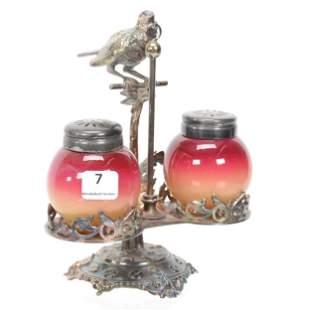 Condiment Set, Wheeling Peachblow Art Glass