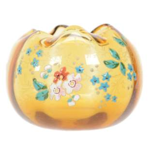 Rose Bowl, Amber Art Glass