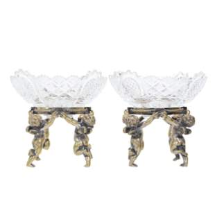 Pair Pairpoint Bowls On Figural Gilt Metal Stands