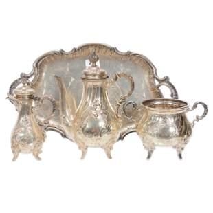 (3) Pc. Silver Tea Service & German Hallmarked Tray