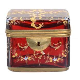 Jewel Casket, Moser Cased Cranberry Art Glass