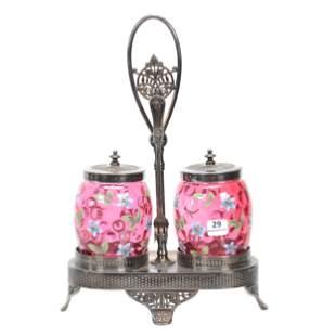 Victorian Double Castor Set, Cranberry Art Glass
