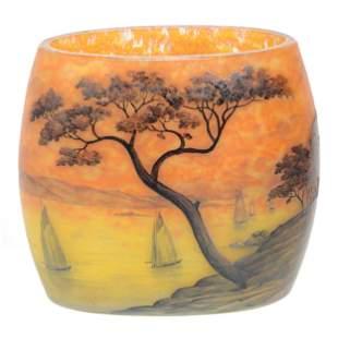 Vase, French Cameo Art Glass Signed Daum Nancy
