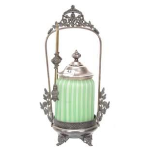 Victorian Pickle Castor, Satin Cut Velvet Art Glass