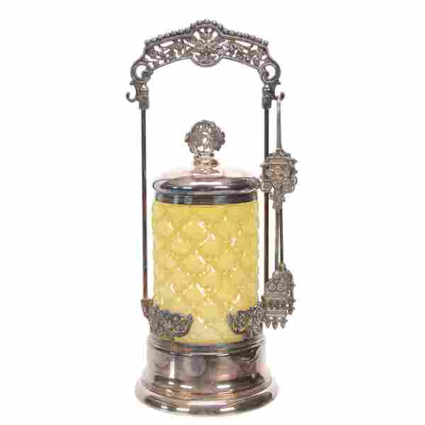 Victorian Pickle Castor, Yellow Cased Art Glass