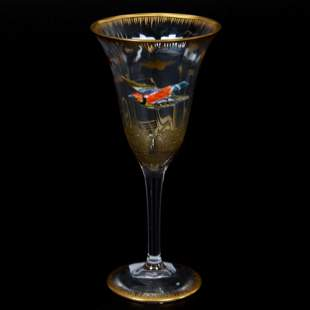 (2) Wine Stems, Decorated Moser Clear Art Glass