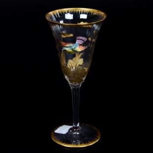 Wine Stem, Decorated Moser Clear Art Glass