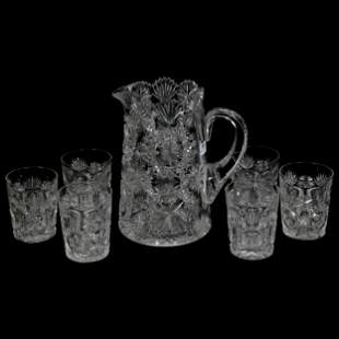 Water Set, ABCG, Signed Hawkes North Star Pattern