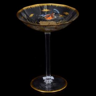 Champagne Stem, Decorated Moser Clear Art Glass