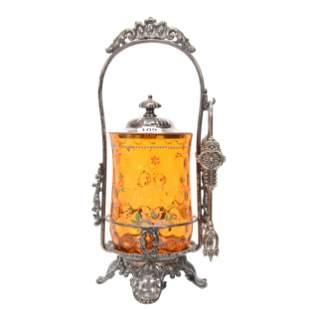 Victorian Pickle Castor, Amber Coinspot Art Glass