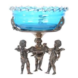 Victorian Brides Basket, Solid Blue Art Glass Bowl