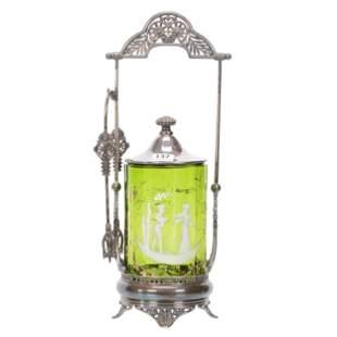 Victorian Pickle Castor, Green Optic Rib Art Glass