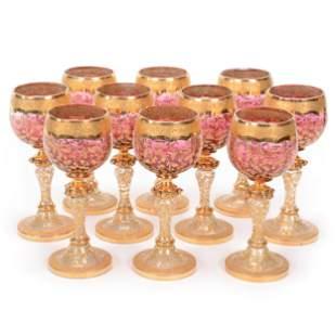(10) Wine Stems, Moser Rubina Art Glass