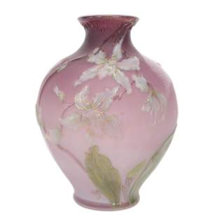 Vase, French Cameo Art Glass Signed B.S. And Co.