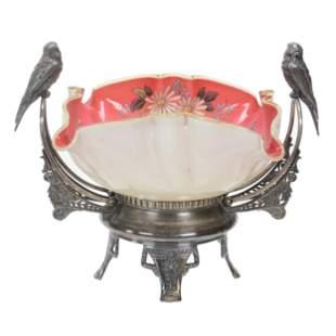 Victorian Brides Basket, Pink/White Cased Art Glass
