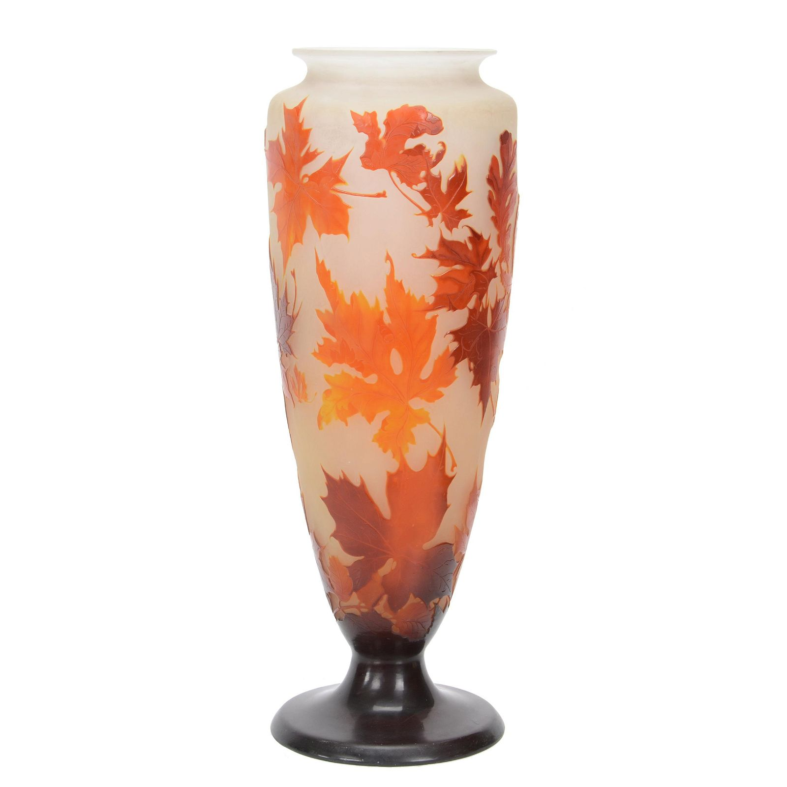 Pedestal Vase, French Cameo Art Glass Signed Galle
