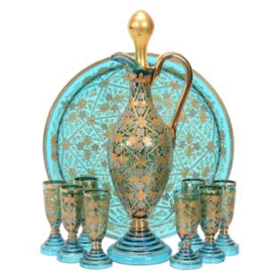 Decanter Set With Tray, Moser Solid Blue Art Glass