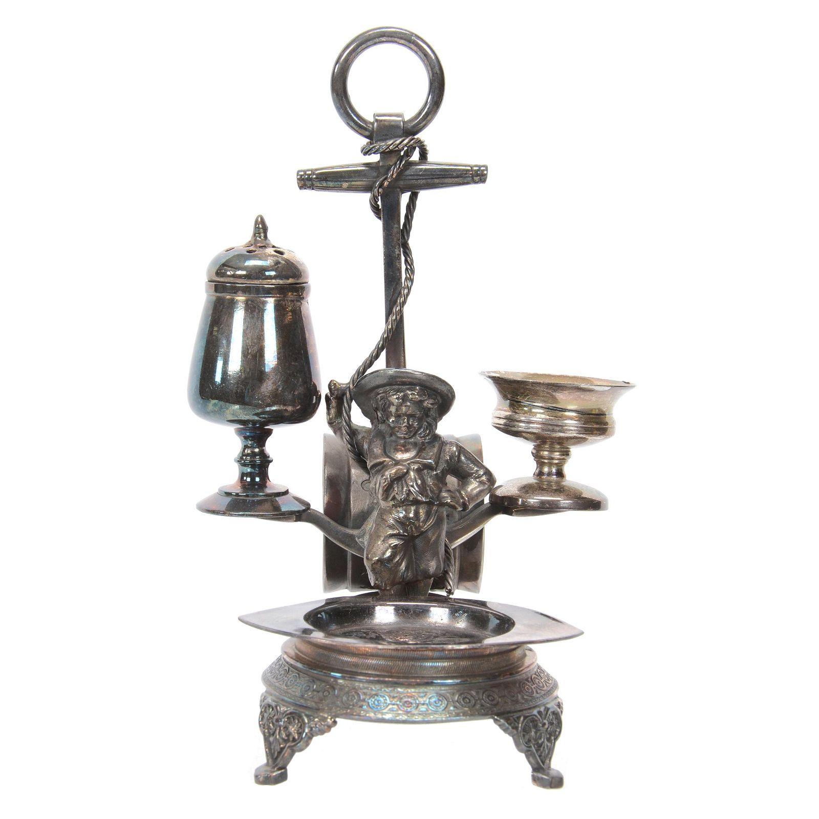 Victorian Silverplate Figural Condiment Set
