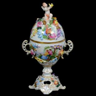 Covered Urn Marked Dresden, Two-Handled