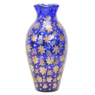 Vase, Moser Cobalt Blue Art Glass, Decorated