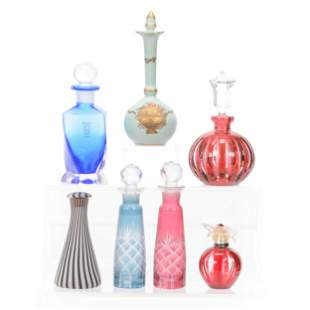(7) Assorted Art Glass Perfume And Cologne Bottles