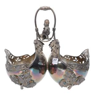 Victorian Silverplate Double Nut Bowl