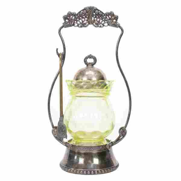 Victorian Pickle Castor, Vaseline Art Glass Insert