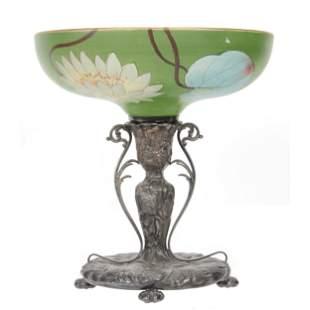 Victorian Brides Basket, Pairpoint Art Glass