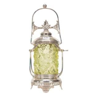 Victorian Pickle Castor, Vaseline Glass Insert