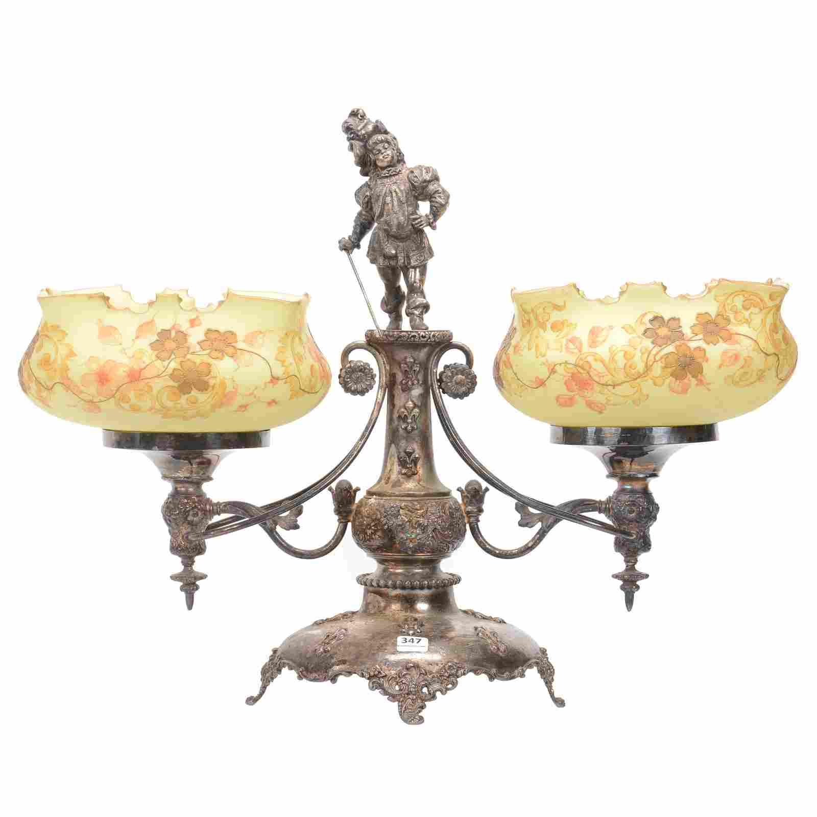 Double Brides Basket, Crown Milano Style Art Glass