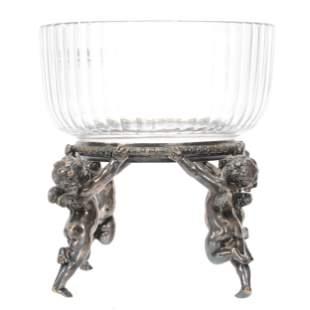 Victorian Brides Basket, Clear Cut Glass Bowl