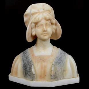 Carved Marble Bust, Young Woman Wearing Bonnet