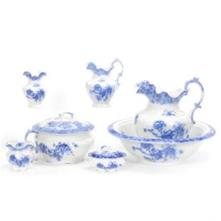 Pitcher/Bowl Set, Flow Blue By Grindley England