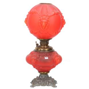 Red Satin Gone With Wind Lamp, Lion Head